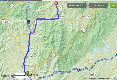 Map from Asheville to Clearmont Elementary